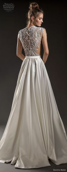 emanuel brides 2018 bridal cap sleeves jewel neckline heavily embellised bodice crop top satin skirt glamorous sexy a line wedding dress covered lace back sweep train bv -- Emanuel Brides 2018 Wedding Dresses New Wedding Dresses, Bridal Dresses, Lace Wedding, Corsage, Trendy Dresses, Nice Dresses, Fashion Dresses, Lace Dress With Sleeves, Dress Lace