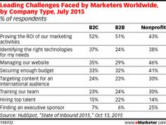 Leading Challenges Faced by Marketers Worldwide, by Company Type, July 2015 (% of respondents)