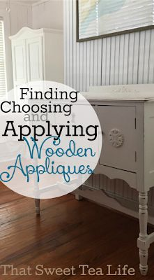 How to apply wood appliqués : That Sweet Tea Life Get details on how to find, choose & apply wooden appliques to your painted furniture pieces! Painted Furniture For Sale, Painting Wooden Furniture, Furniture Painting Techniques, Distressed Furniture, Repurposed Furniture, Unique Furniture, Paint Techniques, Furniture Online, Cheap Furniture