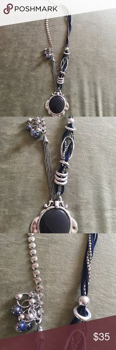 Alisha. d. Eclectic Necklace Navy and silver multi material eclectic necklace. In great shape. Beautiful statement piece! alisha.d Jewelry Necklaces