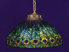 "TIFFANY ""PEACOCK"" 26"" Electrolier or Chandelier Lampshade. SCHLITZ Studios and BUFFALO Studios of New York used to make this original Tiffany Design."