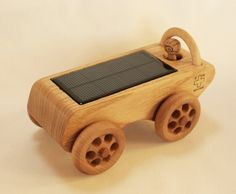 Wooden Toy Car - Solar Powered Eco Friendly. A solar car that drives!
