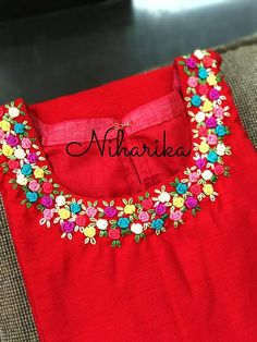 Call Or whatsApp 9035330901 for hand embroidery materials Embroidery On Kurtis, Kurti Embroidery Design, Embroidery Neck Designs, Hand Embroidery Flowers, Bead Embroidery Patterns, Hand Work Embroidery, Embroidery Fashion, Beaded Embroidery, Hand Embroidery Projects