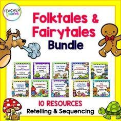 This Fairytales, Fables and Folktales Bundle contains 10 BEST SELLING classic folktales & fables activities with interactive booklets & activities to help students practice sequencing, retelling & strengthen reading comprehension skills. These Common Core aligned booklets and activities ...