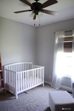 Repose Gray (same SW swatch as Eider White, Mindful Gray, Dorian Gray, Dovetail… Nursery Paint Colors, Baby Room Colors, Yellow Nursery, Grey Paint Colors, Interior Paint Colors, Gray Interior, Paint Colors For Home, Bedroom Colors, Gray Paint