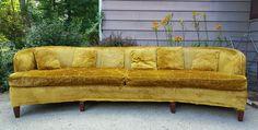 Mid Century Milo Baughman Henredon Velvet Crush Curved Sofa Hollywood Regency #Henredon