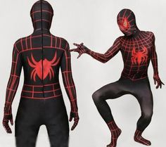 Black And Red Stripe Spiderman Lycra Spandex Zentai Suit