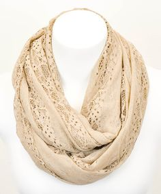 Take+a+look+at+the+Leto+Collection+Khaki+Lace+Infinity+Scarf+on+#zulily+today!