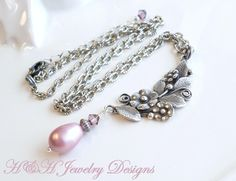 Aged Antique Silver Flower Necklace With Pink Swarovski Pearls and Crystals by hhjewelrydesigns on Etsy