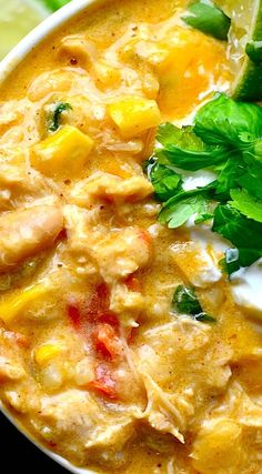 Creamy Cheesy White Chicken Chili..This is the BEST EVER!! I used a can of Rotel since I was out of green chilies, added a bit of coriander. Will def make this again!!!! MS