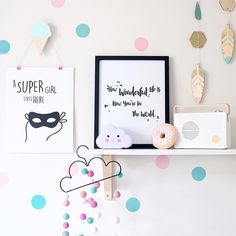 The cloud, the ice cream, the donut, the felt ball garland and the super hero attitude - now that's a delicious shelfie.