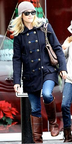 peacoat, boots and hat..love it!
