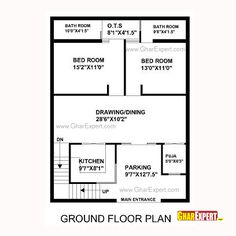 House Plan for 30 Feet by 40 Feet plot (Plot Size 133 Square Yards) Little House Plans, 2bhk House Plan, Model House Plan, Duplex House Plans, Luxury House Plans, Bedroom House Plans, Dream House Plans, Small House Plans, House Floor Design