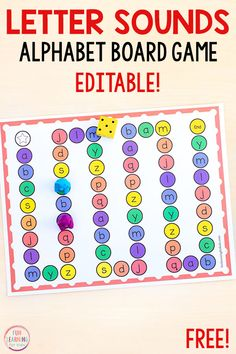 This editable letter sounds alphabet board game is a fun way to learn letter and letter sounds in preschool and kindergarten. Your kids will love this alphabet activity! - Kids education and learning acts Teaching Letter Sounds, Alphabet Sounds, Teaching The Alphabet, Sounds Of Alphabets, Spanish Alphabet, Letter Sound Games, Letter Sound Activities, Alphabet Learning Games, Abc Games