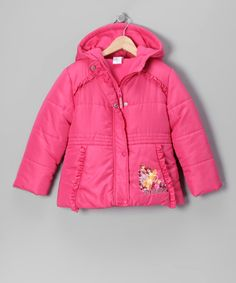 Make little princess dreams come true with this puffy coat that features the prettiest Disney divas ever. With a cozy inner lining and fun hood, this jacket effortlessly repels the cold, the rain and even the snow.100% polyesterMachine wash; tumble dryImported
