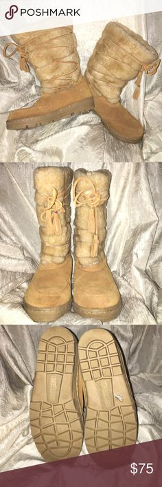 "💥FLASH SALE💥 j crew Boots Beautiful J Crew Pull On Furry Winter Boots with wrap around leather straps.  Shaft measures approx. 10"". Circumference approx. 16"". J Crew Shoes Winter & Rain Boots"