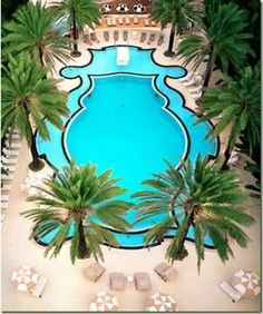 iconic pool. Miami Art Deco The Raleigh Hotel.