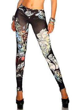 Sexy Love Tattoo Leggings Jeggings. Pinned on behalf of Pink Pad, the women's health mobile app with the built-in community