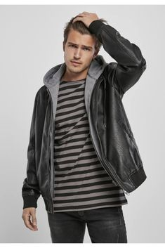 Sweat Shirt, Urban Classics, French Terry, Hoods, Black And Grey, Leather Jacket, Mens Fashion, Tweed, Sleeves