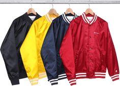 Champion Satin Varsity Jacket a la Supreme. 4 color ways.