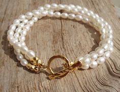 Gold plated fine silver & freshwater pearl triple by kudzupatch, $50.00