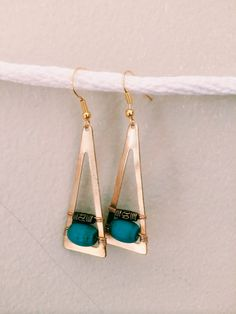 TRIANGLE TURQUOISE EARRINGS by MadMadeMetals on Etsy, $35.00