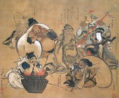 Seven Gods of Good Fortune, the standard set, early 19th century. Collaborative painting by Hokusai Katsushika 葛飾北斎 (1760-1849), Utagawa Kunisada 歌川 国貞 (1786-1865), Utagawa Toyokuni 豊国 (1769-1825), Torii Kiyonaga 鳥居清長 (1752-1815), and others. The image of Hotei holding huge white bag by Hokusai Katsushika.