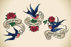 Old School Tattoo of a Swallow (3x) by Artefy's Graphic Bar on @creativemarket