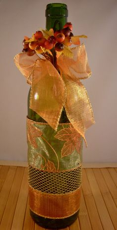 DIY Empty Wine Bottles For Thanksgiving Or Decorations ! Fall Wine Bottles, Wrapped Wine Bottles, Wine Bottle Tags, Empty Wine Bottles, Recycled Wine Bottles, Painted Wine Bottles, Lighted Wine Bottles, Wine Tags, Glass Bottles