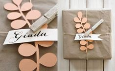 Papercut tags and calligraphy. Brown paper, string and pegs. Gift or present wrapping idea. Wrapping Gift, Gift Wraping, Creative Gift Wrapping, Christmas Gift Wrapping, Creative Gifts, Christmas Gifts, Wrapping Ideas, Santa Gifts, Holiday Gifts