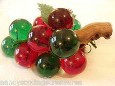 **SOLD!** VTG RED & GREEN LUCITE ACRYLIC GRAPES DRIFT WOOD MCM MID CENTURY MODERN DECOR