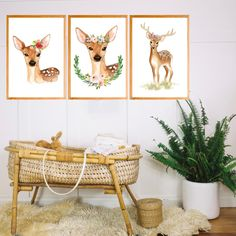 Instant Download this set of 3 FLORAL DEER art for your little ones nursery or play room. This art work will save you some cash as well as some time as you don't need to wait for a shipment. Print at home and frame your self. Deer Themed Nursery, Deer Nursery, Nursery Wall Decor, Woodland Nursery, Nursery Themes, Nursery Art, Deer Art, Oh Deer, Print Format