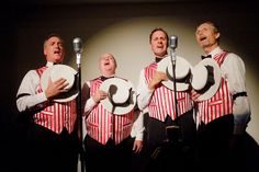 A barbershop quartet was among the musical acts. Photo: Jerod Harris/Getty Images for Schlitz Brewing/Pabst Brewing Company