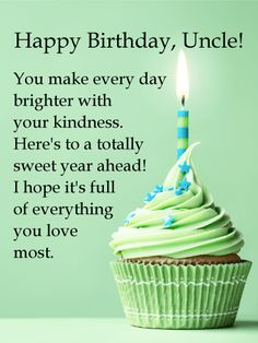 Send Free Green Cupcake Happy Birthday Wishes Card For Uncle To Loved Ones On Greeting Cards By Davia Its 100 And You Also Can Use Your