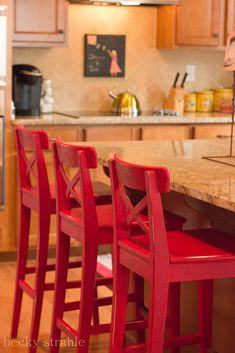 ikea stools painted with DIY chalk paint