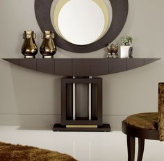 Choosing a table lamp for a hallway console table depends on several factors; the most important of these is the style of console table you own and the Modern Hallway Furniture, Modern Entryway, Modern Console Tables, Entryway Decor, Contemporary Hallway, Furniture Ideas, Furniture Design, Entryway Mirror, Entryway Lighting