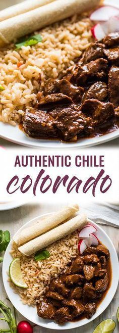 mexican cooking This Chile Colorado recipe combines tender pieces of beef with a rich and flavorful red chile sauce. Serve with rice for an authentic Mexican dinner! Mexican Meat, Mexican Cooking, Mexican Dishes, Mexican Style, Authentic Mexican Recipes, Mexican Food Recipes, Authentic Chili Recipe, Latin Food Recipes, Mexican Desserts