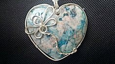 Blue lace Agate heart shaped gemstone pendant dragonfly silver plated non tarnish wire wrap design wrapped boho handmade necklace https://www.etsy.com/listing/290804045/blue-lace-agate-gemstone-heart-pendant