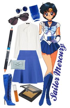 """""""Sailor Mercury"""" by rachael-aislynn ❤ liked on Polyvore featuring Karl Lagerfeld, Opening Ceremony, Chelsea & Zoe, MAKE UP STORE, Lipsy, Frency & Mercury, Bling Jewelry, RED Valentino, By Terry and EF STUDIO"""
