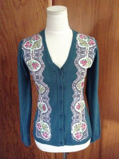 Penelope Tree - Vintage scarf border applied to cardigan.