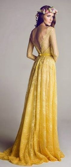 There is so much that I love about this.  From the deep V back to the slight ombre effect to the perfect graceful length, this dress is simply beautiful!