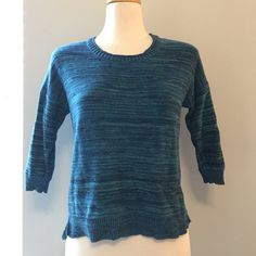 Blue Marled Sweater This 3/4 sleeve sweater is super cozy // perfect for a casual outfit // in like new condition // comes from a smoke free environment // no holes, stains or imperfections // NO trades, please. Sweaters Crew & Scoop Necks