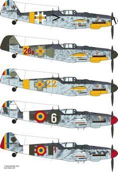 Romanian Messerschmitt Part Ww2 Aircraft, Fighter Aircraft, Military Aircraft, Luftwaffe, Focke Wulf, Aircraft Painting, Camouflage, Ww2 Planes, Military Photos