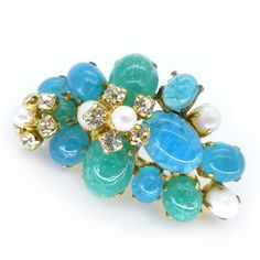 Vintage 1967 Christian Dior Germany Blue Glass Floral Pearl Brooch   Clarice Jewellery