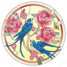 İndir - Vitray pencere kuşları çiçekler ile — Stok İllüstrasyon #68254859