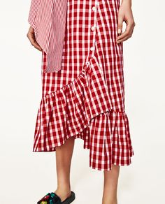 Image 5 of GINGHAM FRILLED SKIRT from Zara