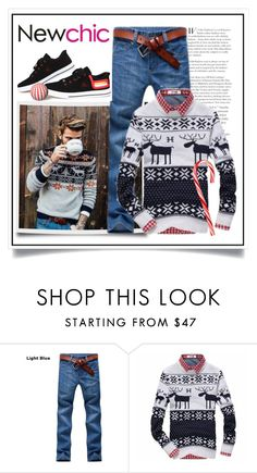 """Newchic - Men's Christmas Rein Deer Sweater III/5"" by ewa-naukowicz-wojcik ❤ liked on Polyvore featuring men's fashion and menswear"