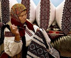 : Native Ukrainian Grandmother and her embroidery