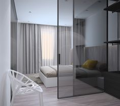 Design/Architecture Z.Design.com.ua Studio Apartment Design, Condo Design, Studio Apartment Decorating, House Design, Modern Bedroom Design, Interior Design Living Room, Living Room Designs, Condo Interior, Studio Interior