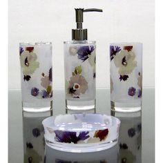 acessórios para banheiro kit pia transparente floral